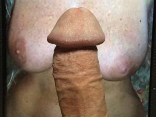 My cock between a friends beautiful tits.
