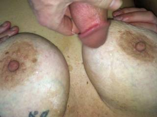 double cum load on wife\'s big beautiful tits !!!