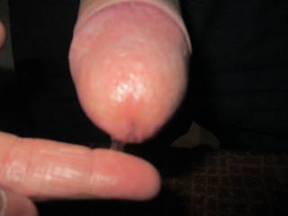 Teasing Mr B's cock with his pre cum