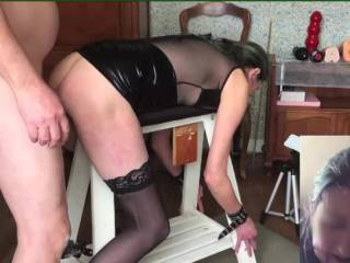 Quite a long series with her tied to the bench, sucking, fucking, anal, big dildos, DP with the machine and quite a lot of A2M. Part 2 is some sucking and fucking, DP with my cock and a dildo, anal and A2M..