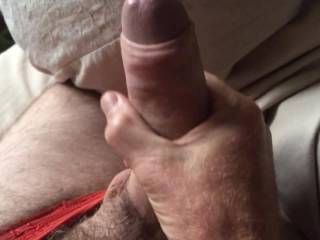 Stroking my cock in my wife's sexy panties x