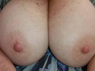 Kat showing off her big natural tits.