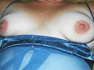 My GF let me post some pics! These are from a year ago before she got her new tits! Showing her natural tits! Blue sex session. These are her old tits which I loved! She will only approve the pics before I post! Hope she likes and will let me do more