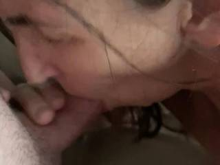 I cum in her mouth and a final spurt shoots out after she thought she was finished swapping my cum.
