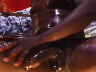 mmm i would love to rub oil all over you an that big cock an balls an have you fuck me hard