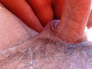I decided to wank him some and look whats happening ! cum all over his belly, I did lick him clean though - would you ?