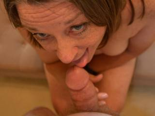One I have him beging I get to do my eye contact and slutty grin and lick.  Do you like the show?