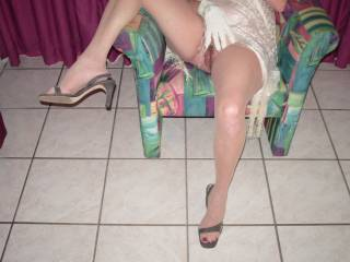 Baby I would love to run my hands up and down those beautiful stocking covered legs while eating that magnificent hairy pussy!