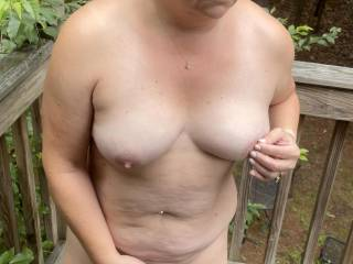 Outside to be caught! Cars coming bye as I'm masturbating and blowing hubby in the open got me so hot! I'm sure the neighbor across the street saw me making myself cum then swallowing my husbands load as he came in my mouth! Hope he enjoyed, we did!