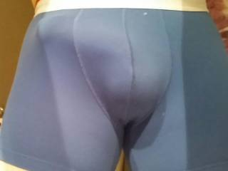 Front view of my erect penis in my undies....  It's hard to keep Inside...
