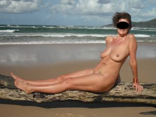 A lovely beach that we went to by boat was deserted. So we decided to get naked in the Autumn sun.