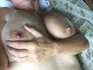 You bet I love them beautiful boobs sweetie them are so beautiful wish I could play and suck on them for hrs if you will let me