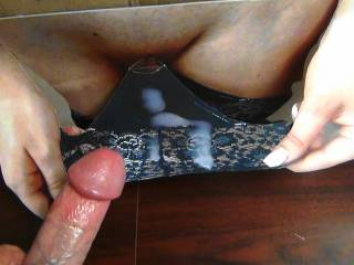 About to jerk my hard cock and shoot my cumload on Cindy's tasty pussy and panties!