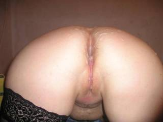 Love this shot of you nice round ass.  We would like to each take a hole and lick you clean or until you cuuuummmmmm!