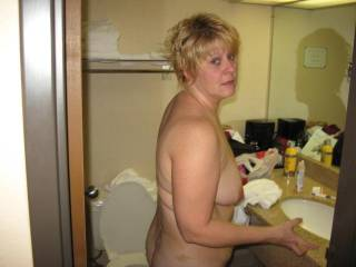 Wife going to wash up after sex with friend and i look at cum on her back