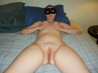 My hot wife grabbing her tits and showing her pussy