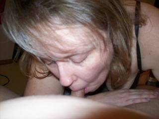Lupo\'s wife giving me some great head while her hubby was at working during our playdate!