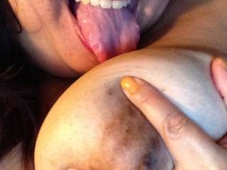 WOW!!! Love your tits!!! Would love to rub my cock against your nipple and tounge at the same time ;)