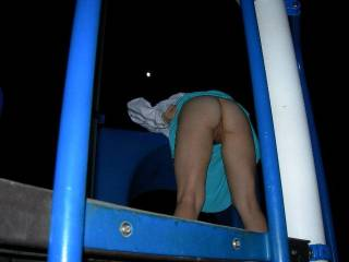 We went to the park one night and had a little fun. It looks like there were 2 moons out that night.