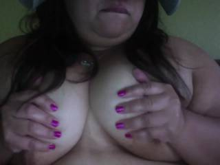 Another revealing vid of me for T, its short and sweet and all me, very in your face but he said he liked it and got to see me do this live.  I taped this after he got his peek, here is what he saw minus the silly faces and boob play. (PS T, Khaki Tease)