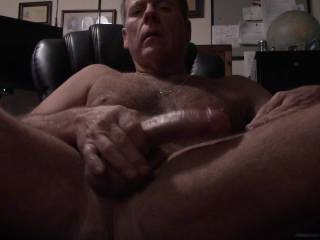 at my desk I cream up the old cock and cum .  wish the cum shot was angled better the it was a large splash of hot cum