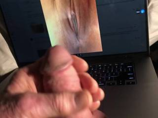 Received this photo and asked what I thought. I usually don\'t care that much for extreme closeups, but I got very horny looking and fantasizing over her beautiful pussy.