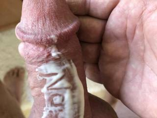 Putting some lotion on my dick to keep the skin soft.  Carved out a special message for my ZOIG! friends.