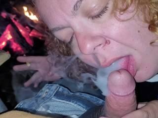 Smoking blowjob at bike rally