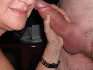 Playing with our swinger friend\'s extra thick cock at a hotel
