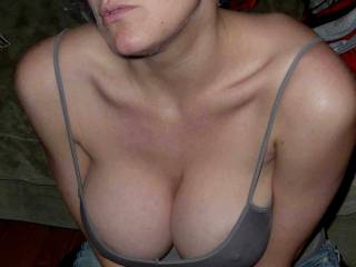 she sent me this pic to cum on, who else would love to shoot a load in that cleavage