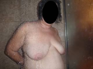 My wife\'s wet tits and spectacular nipples in the shower!