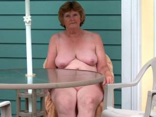 Relaxing on the patio at the nude resort