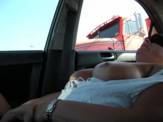 Wife flashing trucker