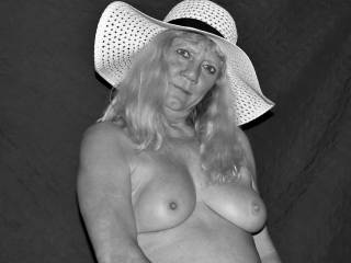 Black and white version of Joanne showing her beautiful mature breast