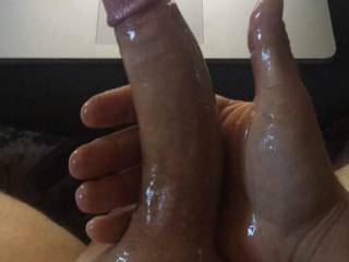 Freshly shaved, oiled, and rock hard