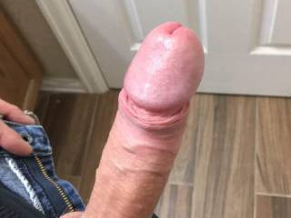 My nice hard cock. He loves to to sucked and swallowed. Who wants me down their throat?