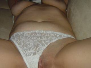Great view! Loving those big tits and lickable pussy.
