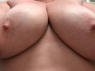 Wife's amazing tits from work