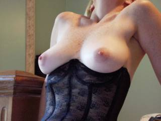 My wife's tits for your cum tribute.  Please soak them good!