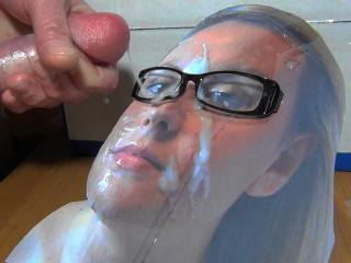 Jacking off my Hard cock and shooting my warm sticky cum all over Adelle's sexy face while wearing my GF's glasses. As she requested! Her reward for a cock tribute she sent me!