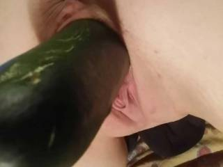 Hubby & I filling my pussy with good healthy vegetables.. it's always great fun to eat your greens.