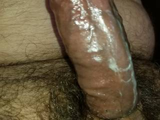 My big hard cock glistening with lube and precum, oiled up and ready to stroke!