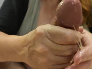 This cumslut is getting her just reward. Mmm... Look at all of that wonderful cum on my hands. It is so nice and sticky. After I finish milking Hubby's cock, I am going to lick my hands clean. Mmm... Do you want to be next?