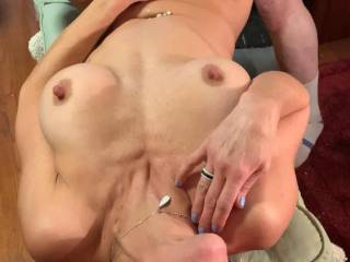 My pussy getting pounded royally with a friends fuck machine