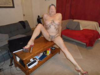 Hi all here I am naked apart from my high heels, what do you think? dirty comments welcome mature couple