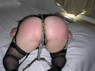 great use of the chains now spread her open and fuck her in her pussy and her mouth  make sure he hands never interfere