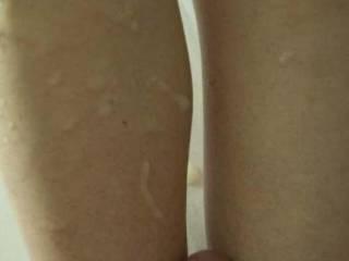 My load shot on Carol's leg after a good long fuck.