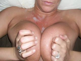 titty banging my girl with a nice big load.