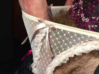 Pink lacy panties and a 6 strap suspender belt holding up some of my wifes stockings.... bliss xx
