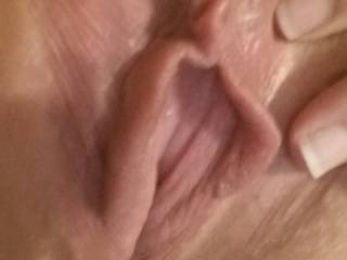 The wifey showing me her freshly shaved pussy. Did she do good everyone?